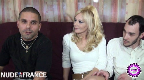 NudeinFrance - Ambre - Blonde whore takes one cock in pussy and one in mouth (HD/720p/684 MB)